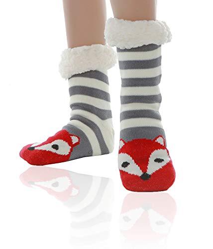 WYTartist Hausschuhe Socken Damen Kuschelsocken Stoppersocken Wollsocken Wintersocken ABS Sohle Premium Hausschuhsocken Wollsocken Damen Thermosocken (Grau)