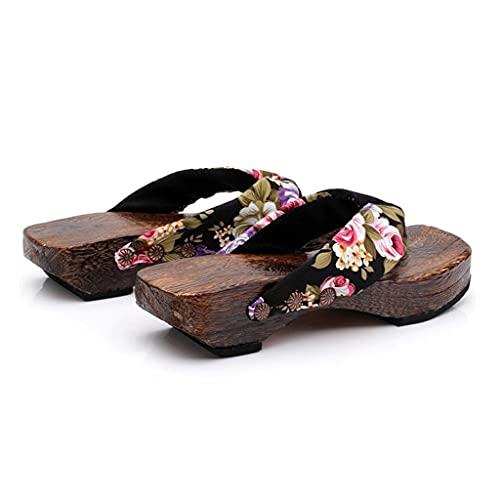 YXCKG Pantofole Pantofole da Donna, Infradito Sandali Scarpe, Giapponese Zoccoli Slipper Estate Perizoma in Legno Flip Flops Piattaforma Scarpe da Spiaggia (Color : Black, Size : EUR39)