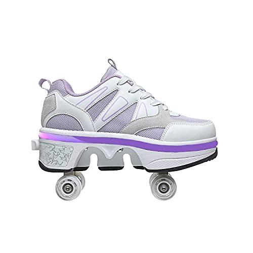 HANHJ VIIPOO Doble Rodillo Zapatos De Skate Zapatos Invisible Polea Zapatos Zapatillas De Deporte Luz Zapatos con Luces LED Colores Zapatos Multiusos, Niños Zapatos con Ruedas,White-40