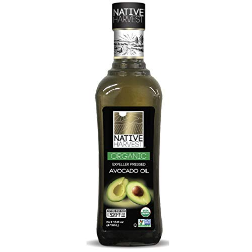 Native Harvest USDA Organic Avocado Oil - 100% Pure Naturally Expeller Press NON-GMO Avocado Oil - for High Heat Cooking, Frying and More - Nutritious And Rich With Anti-Oxidents 473ml (16 fl.oz)
