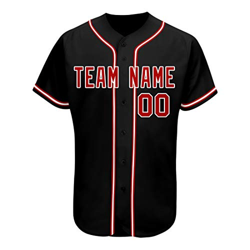 Custom Athlete's Mesh Embroidered Baseball Jerseys Personalized Design Black Red Team Shirts for Pre-School(Pre-School Size:L(7),Black Red B5-07-02-308)