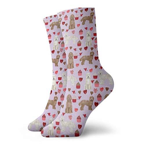 Colin-Design Labradoodle Valentinstags-Socken mit Cupcake-Motiv, personalisierbar, 30 cm, für Damen & Herren