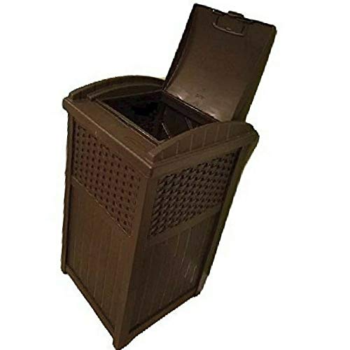 30 Gallon Trash Can Outdoor Large Tall Commercial Lid Resin Wicker Decorative Portable Garage Exterior & eBook