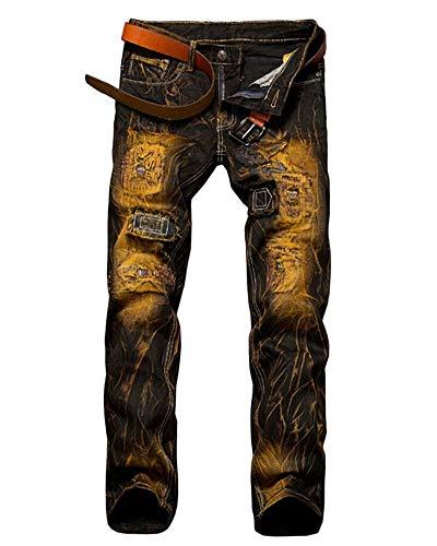 Herren Jeanshose Farbe Löcher Cher Jeans Jungen Mischfarbe Vintage Motorradhosen Fashion Denim Freizeithose (Color : Aspicture, Size : 36)