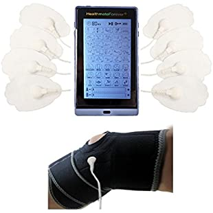 """Healthmateforever 40 Modes Rechargeable 6"""" Touch Screen Electrode Impulse Digital Electrotherapy Massager + Electrode Lower Leg Support Cramp Relief White:Diet-beauty"""