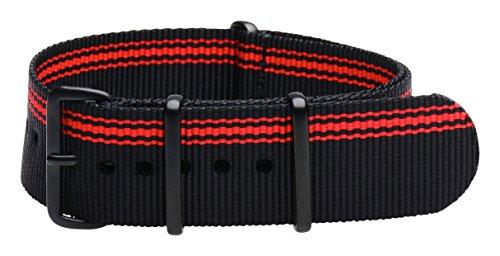 Clockwork Synergy Premium Nylon Nato Watch Straps bands PVD Black Hardware (22mm, Ducati Black/Red)