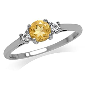 Silvershake Petite Natural Citrine and White Topaz 925 Sterling Silver Ring Size 6.5