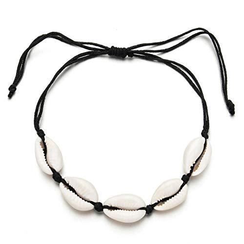 LLXXYY gevlochten armband, vintage gevlochten touw handgemaakte Bangle/Bohemia natuurlijke shell Wove verstelbare enkelbanden/voor vrouwen kinderen vakantie charme sieraden