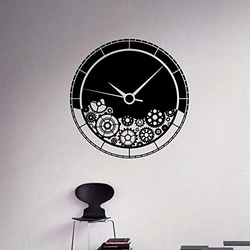Calcomanía de pared con mecanismo de reloj para pared, adhesivo de vinilo con rueda dentada, decoración de la pared del hogar