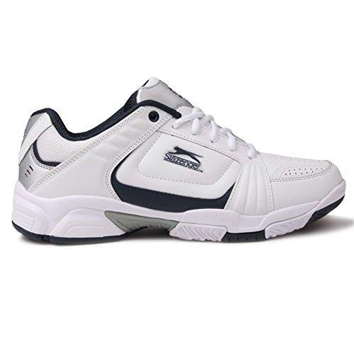 Slazenger Tennis-/Sportschuhe für Herren, Turnschuhe, perforierte, geschnürte Schuhe, Weiß - weiß/marineblau - Größe: 45 EU