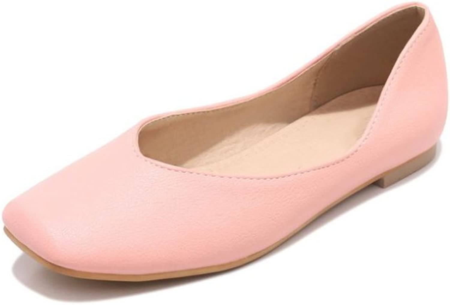 pink town Womens Square Toe Ballet Comfort Slip on shoes