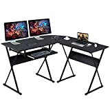 Frunimall L Shaped Desk with Keyboard Tray Reversible Gaming Desk Corner Computer Desk for Home Office, Black Wood & Steel Frame Writing Study PC Workstation Table for Small Space