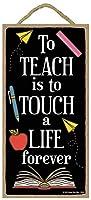 教えることは永遠に人生に触れることです看板、壁の芸術、装飾的な木製看板、先生の贈り物13x25cm