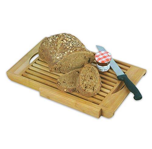 WOP ART Tagliere decorativo in bambù con scomparto per briciole e coltello da pane