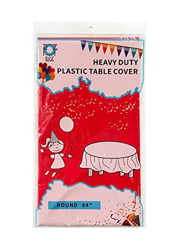 D&Z 12 Pack Red Plastic Tablecloth 84' Round Disposable Heavy Duty Table Cover for Party Birthday Wedding Christmas