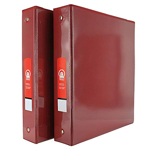 """1 1/2"""" 3-Ring View Binder with 2-Pockets - Available in Red - Great for School, Home, & Office (2-Pack) - by Emraw"""