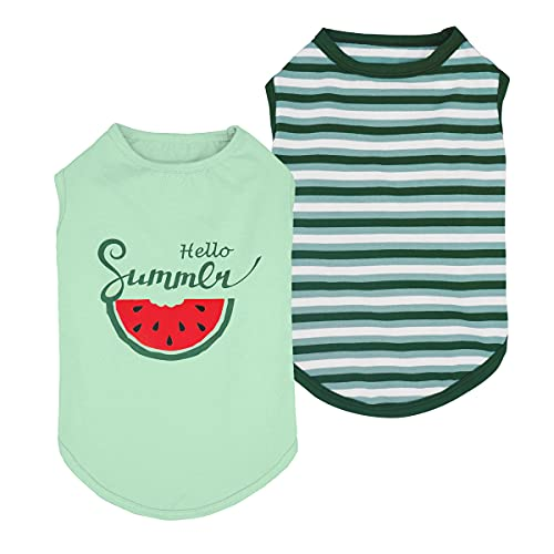 Fitwarm 2-Pack 100% Cotton Hello Summer Dog Shirt for Pet Clothes Puppy Graphic Watermelon T-Shirts Cat Tee Breathable Stretchy XL