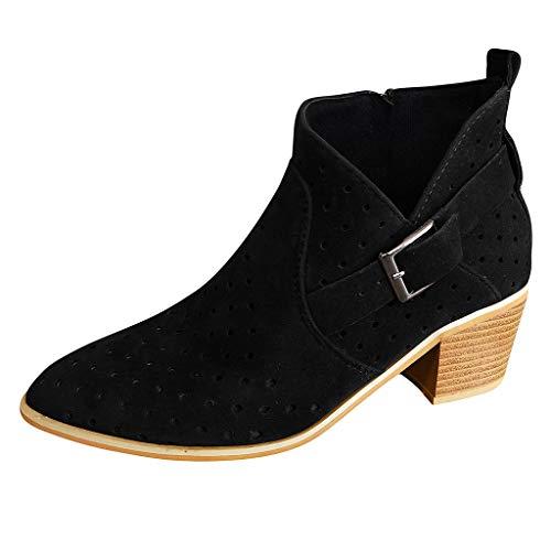 HDUFGJ Damen Stiefel Stiefeletten Boots kurz Dicker Absatz Chelsea Boots Baumwollstiefel Winterstiefel wasserdicht Reißverschluss Stiefeletten winterstiefelgefüttert Outdoor 36 EU(Schwarz)