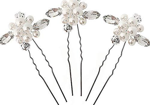 Fashion Jewery 3 St. Damen Haarschmuck Accessoires Diadem Hochzeit Braut Haarnadeln Haardekoration Haarnadel Haarstecker Kristallen Kristall Perlen Silber edel