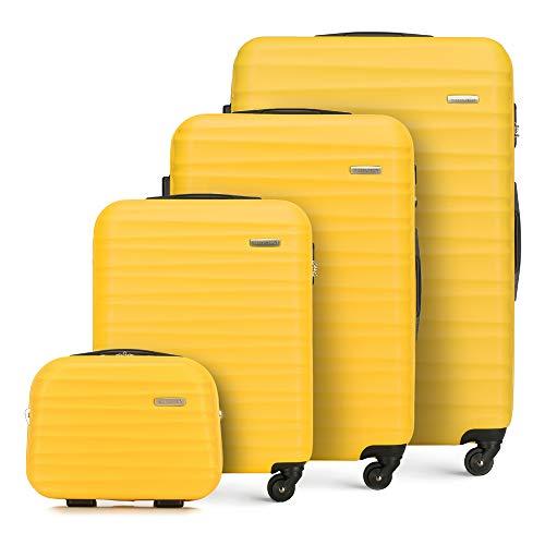 WITTCHEN Juego de Maletas (4 Piezas, 77 x 29 x 52 cm, Capacidad: 195 L, Peso: 11,2 kg), Color Amarillo