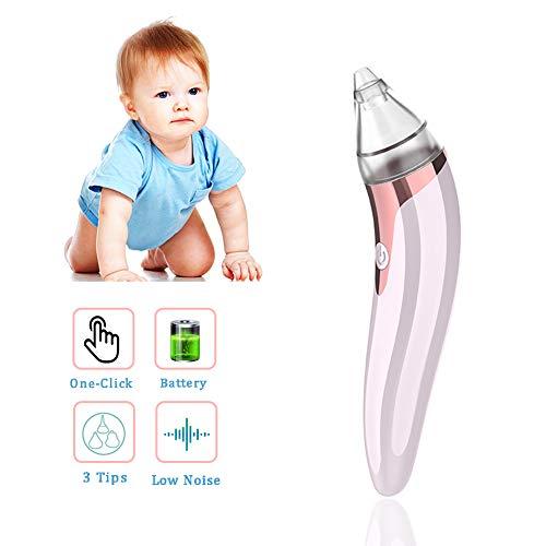 HLSUSAN Nasensauger Baby Nasal Aspirator Nasenschleimentferner mit 3 Größen Wiederverwendbarem Rotzsauger Elektrischer Nasenreiniger für Neugeborene Kleinkinder und Säuglinge