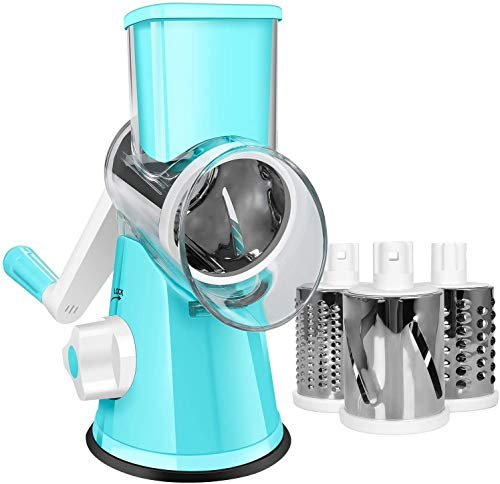 SEYODA Graters for Kitchen,Cheese Grater Efficient Vegetable Slicer with 3 Interchangeable Round Stainless Steel Blades,Easy to Clean Rotary Cheese Grater for Fruit,Vegetables,Nuts. (Blue)