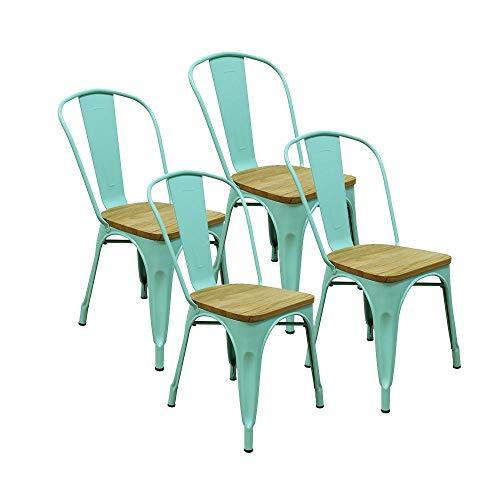 RED DECO Lot de 4 chaises Gaston en métal Vert Style Industriel avec Assise en Bois Massif Clair