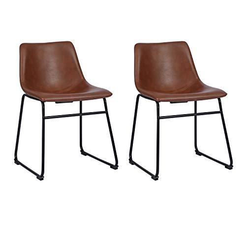 Juego de 2 sillas de comedor de piel sintética, sin reposabrazos, estilo retro, con patas de metal y esterilla protectora para el suelo, color marrón