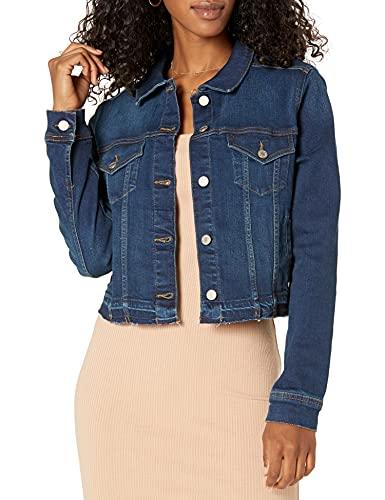 Marchio Amazon - Downtown Giacca in jeans corta, effetto strappato Donna di The Drop
