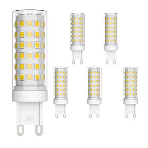 Klighten 6 pezzi Lampadina LED G9, Bianco Naturale 4000K, 9W Equivalente 70W Lampada Alogena, Angolo di visione 360°, AC220-240V, Ideale per Camera da Letto Soggiorno Cucina Sala