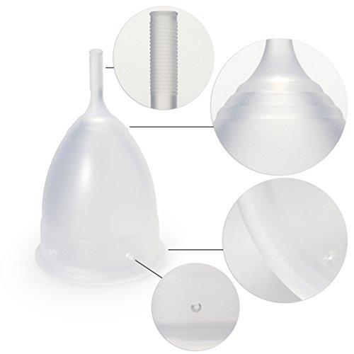 MedX5 Menstruationstasse aus medizinischem Silikon, Menstruationskappe inkl. Reinigungsbürste, Beutel und Geschenkbox, Größe: S, Farbe: Transparent - 7