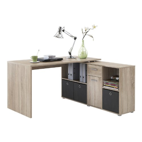 LEXA Corner Home Office Computer Desk Finished in Oak(4 different build combinations) Includes 3 x Natural Coloured Canvas Storage Boxes Included