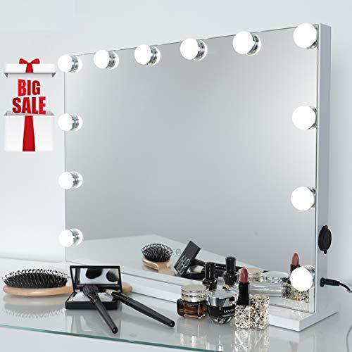 iCREAT Hollywood Spiegel Schminkspiegel mit Beleuchtung 12 Glühbirnen 3 Lichtfarben Dimmbar Wand Tischspiegel professioneller Theater Spiegel für Make-up Lover 58X44 cm