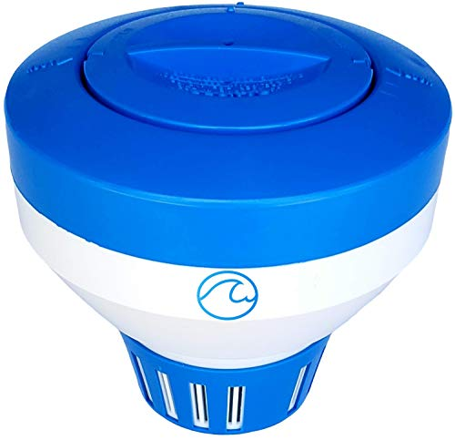 """Cclear Pool Chlorine Floater for 3 inch Chlorine Tablets, 40% Thicker Walls, 7"""" Large Capacity, Chlorine Dispenser for In-ground and Above-Ground Swimming Pools, 2 Year Warranty"""