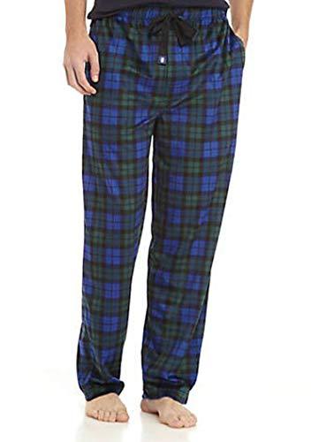 IZOD Men's Advantage Sleepwear Silky Fleece Pajama Pants (Large, Navy/Hunter Green)