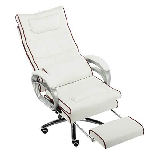 JIEER-C slaapkamerkussen met rugleuning, PU-leer, gevoerd, bureaustoel, lumbale wervelkolom, massagefunctie, kantelfunctie, verlengde stoel, zwart + wit Wit + Rood