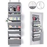 Univivi Door Hanging Organizer Nursery Closet Cabinet Baby Storage with 4 Large Pockets and 3 Small PVC Pockets for Cosmetics, Toys and Sundries (Grey)