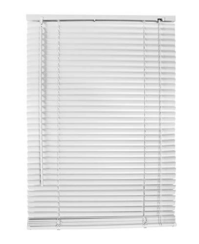 Vetrineinrete® Tende veneziane in PVC Veneziana Finestra Tenda Marrone Bianco Beige Chiaro o Scuro Effetto Legno Varie Misure (Bianco, 100 x 160 cm) P84