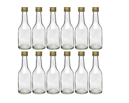hocz Mini Glasflaschen Set mit Schraubverschluss | 12/24 teilig | Füllmenge 100 ml | Kropfha Likörflasche Ölflasche Schnaps Grappa Korn Miniatur Glasflasche zum Selbstabfüllen (12 Stück)