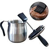Basting Brush and Sauce Pot Set for BBQ Stainless Steel Pot/Silicone Brush,Kitchen Tools for Cooking Barbecue Grilling Pastry Baking Party Cakes Desserts,Dishwasher Safe