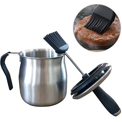 Sauce Pot and Basting Brush Pot Set Grill Gadgets for Men Grilling Smoking Meat Accessories Outdoor BBQ Gifts Kitchen Tools for Cooking Barbecue Pastry Baking Party Cakes Desserts