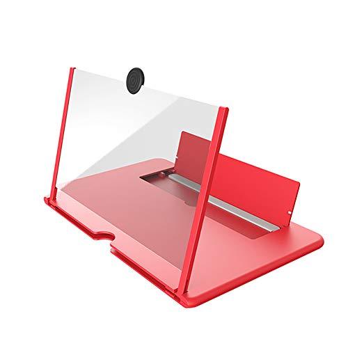 BESTSUGER Lupa de Pantalla para teléfono, 12 Pulgadas 3D Amplificador proyector Giratorio para teléfono móvil con Soporte Plegable, Compatible con Todos los teléfonos celulares,Rojo