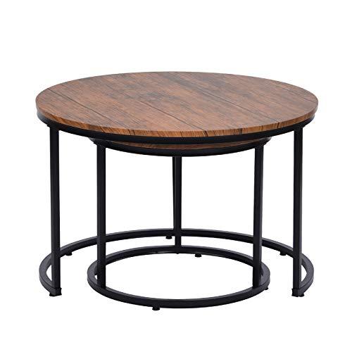 Keebgyy Juego de 2 mesas de café de madera y metal, redondas, juego de mesa de centro de alta calidad, mesa de salón, estilo industrial moderno, mesa auxiliar, redonda, color marrón oscuro