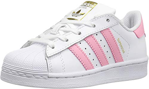 adidas Originals Kids' Superstar, White/Clear Light Pink/Metallic Gold, 11K M US Little Kid