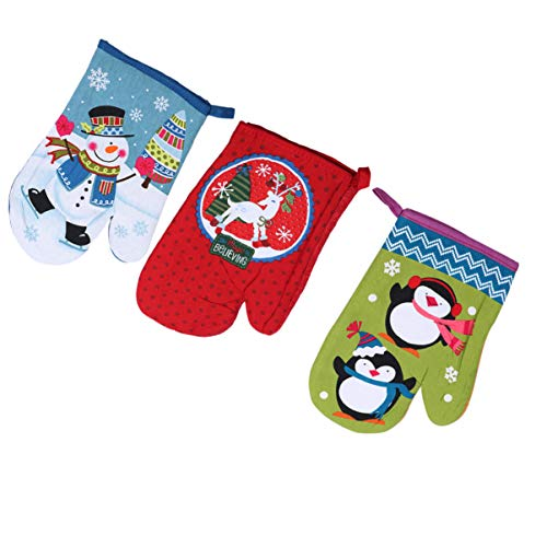 OUNONA 3 Pieces Christmas Oven Gloves in Winter Heat Resistant Cotton Protective Gloves for Barbecue Kitchen Gloves (Random Color)