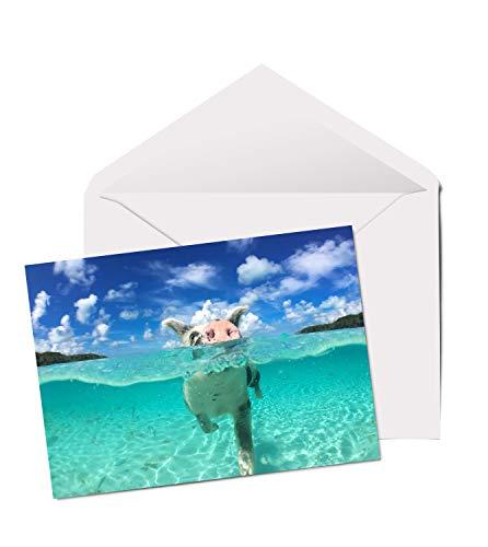 Geburtstagskarte mit Schweinchen-Motiv, A5, blanko, niedliches Tier, Mutter/Tochter #8098