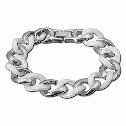Amello Panzer Armband silber weiß Damen Schmuck Edelstahl Keramik ESAX18W0