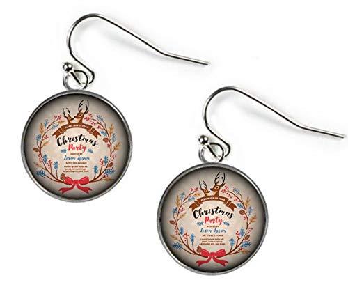 Elf House Exquisite Weihnachtsparty-Einladungskarte Design Illustration Ohrringe Kuppel Glas Ohrringe einzigartig
