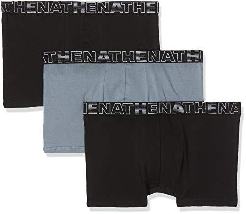 ATHENA Herren Basic Color Badehose, Mehrfarbig (Noir Gris Noir 1920), Small (Herstellergröße: 2) (3er Pack)