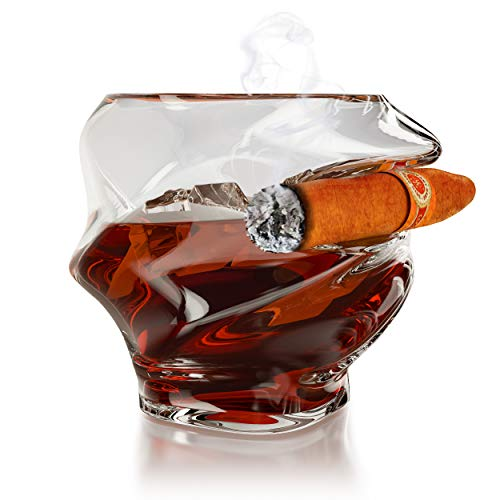 Whiskey Glass With Cigar Holder -Premium Twisted Cigar Whiskey Glass At Well-prepared Package,Best gift for men